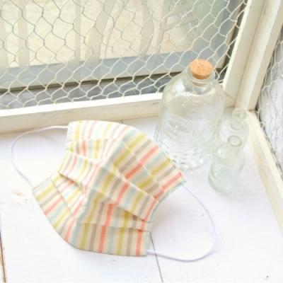 TEMARIYA 日本製 可水洗手作立體口罩M(直紋)-灰/粉