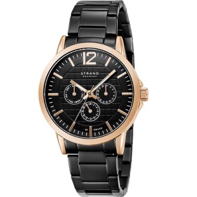 STRAND 丹麥海之星-簡約三眼紳士腕錶 / 玫瑰金黑-44.5mm(S709GMVBSB)