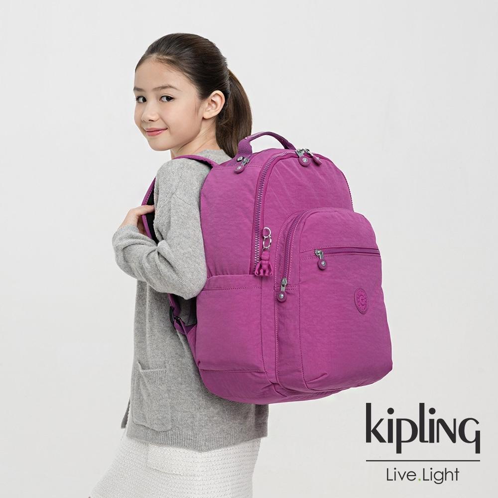 Kipling 葡萄泡泡紫機能手提後背包-SEOUL