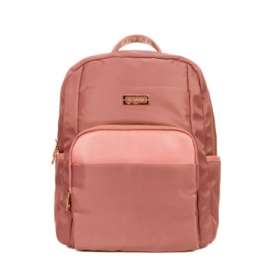 ANGIMI SHOP 後背防潑水通勤多口袋包 漫遊貝兒-乾燥玫瑰粉