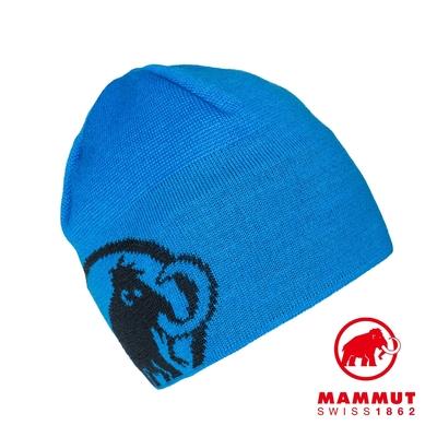 【Mammut】Tweak Beanie 保暖針織LOGO羊毛帽 冰藍/海洋藍 #1191-01352