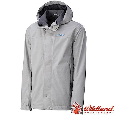 Wildland 荒野 W3912-23銀灰色 男單件防水透氣外套