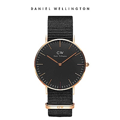 DW 手錶 官方旗艦店 36mm玫瑰金框 Classic Black 寂靜黑織紋錶