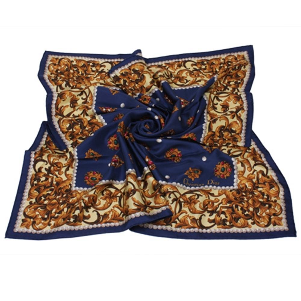 Christian Dior 寶石藤蔓圖樣領帕巾(藍)