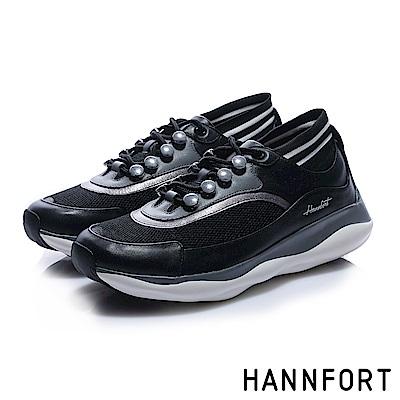 HANNFORT BUBBLES流線復古厚底跑鞋-女-型格黑