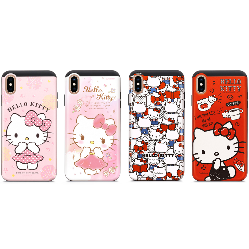 GARMMA Hello Kitty iPhone Xs Max插卡式滑蓋防摔殼