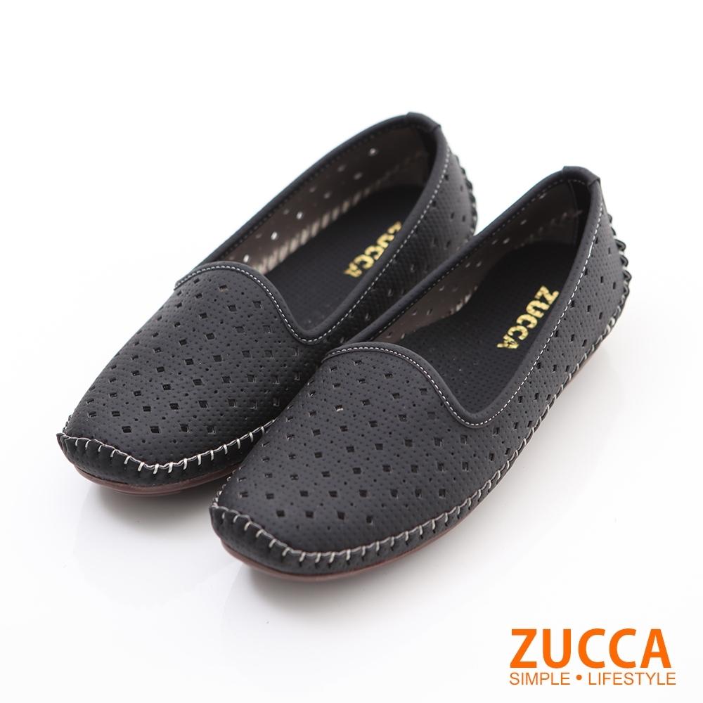 ZUCCA-縷空車線氣墊平底包鞋-黑-Z6001bk