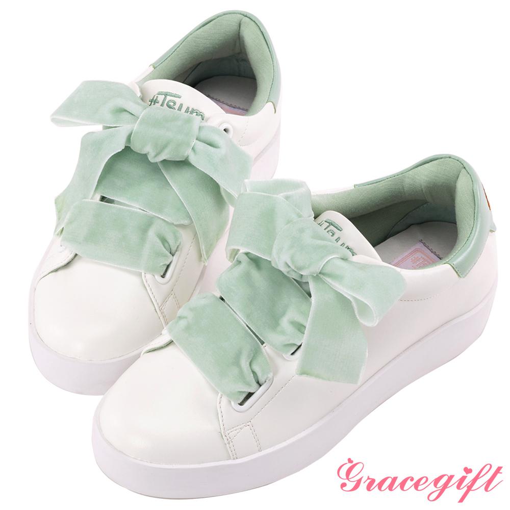Disney collection by Grace gift蜜桃絨緞帶糖果休閒鞋 綠