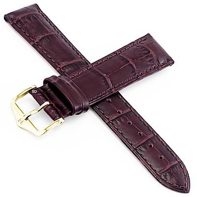 海奕施 HIRSCH Duke L 鱷魚壓紋小牛皮手錶帶-紅