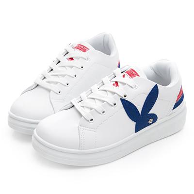 PLAYBOY 潮流感線條綁帶休閒鞋-白藍-Y52131F