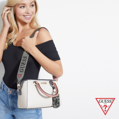 GUESS-女包-時尚通勤手提斜背包-白