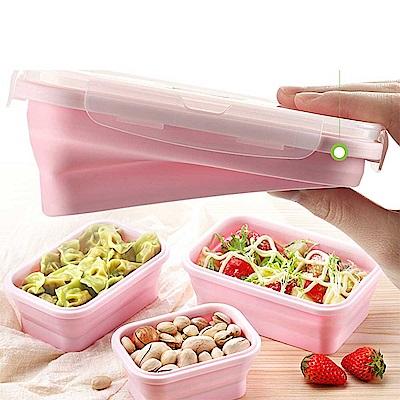 環保伸縮折疊便當盒 保鮮盒 餐盒 可微波 野餐盒(三入組)
