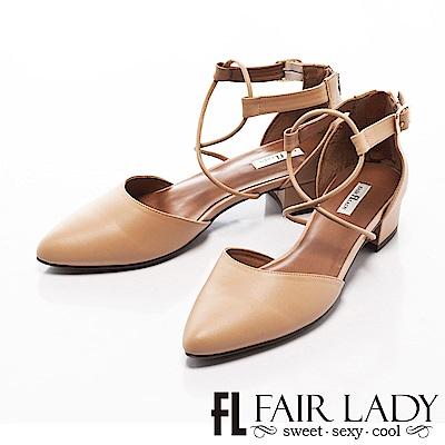 Fair Lady 有一種喜歡是早秋-性感繫繩尖頭粗跟鞋 卡其