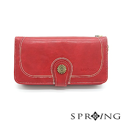 SPRING-日光系列-拉鍊式長夾-寶石紅