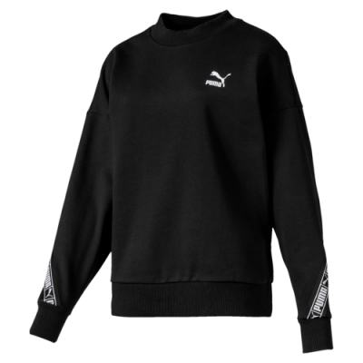 PUMA-女性流行系列TAPE圓領衫-黑色-亞規