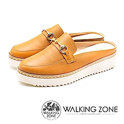 WALKING ZONE (女)厚底增高穆勒鞋-棕(另有黑)