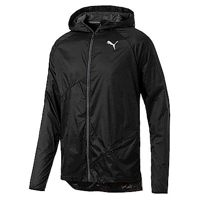 PUMA-男性慢跑系列輕量連帽風衣外套-黑色-歐規