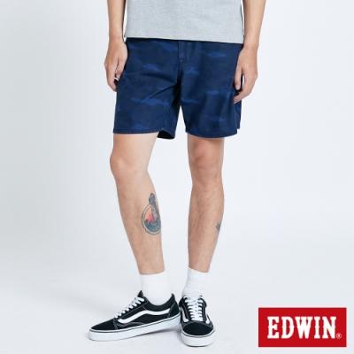 EDWIN JERSEYS 迦績 EJ3 寬鬆迷彩 膝上休閒短褲-男-原藍磨