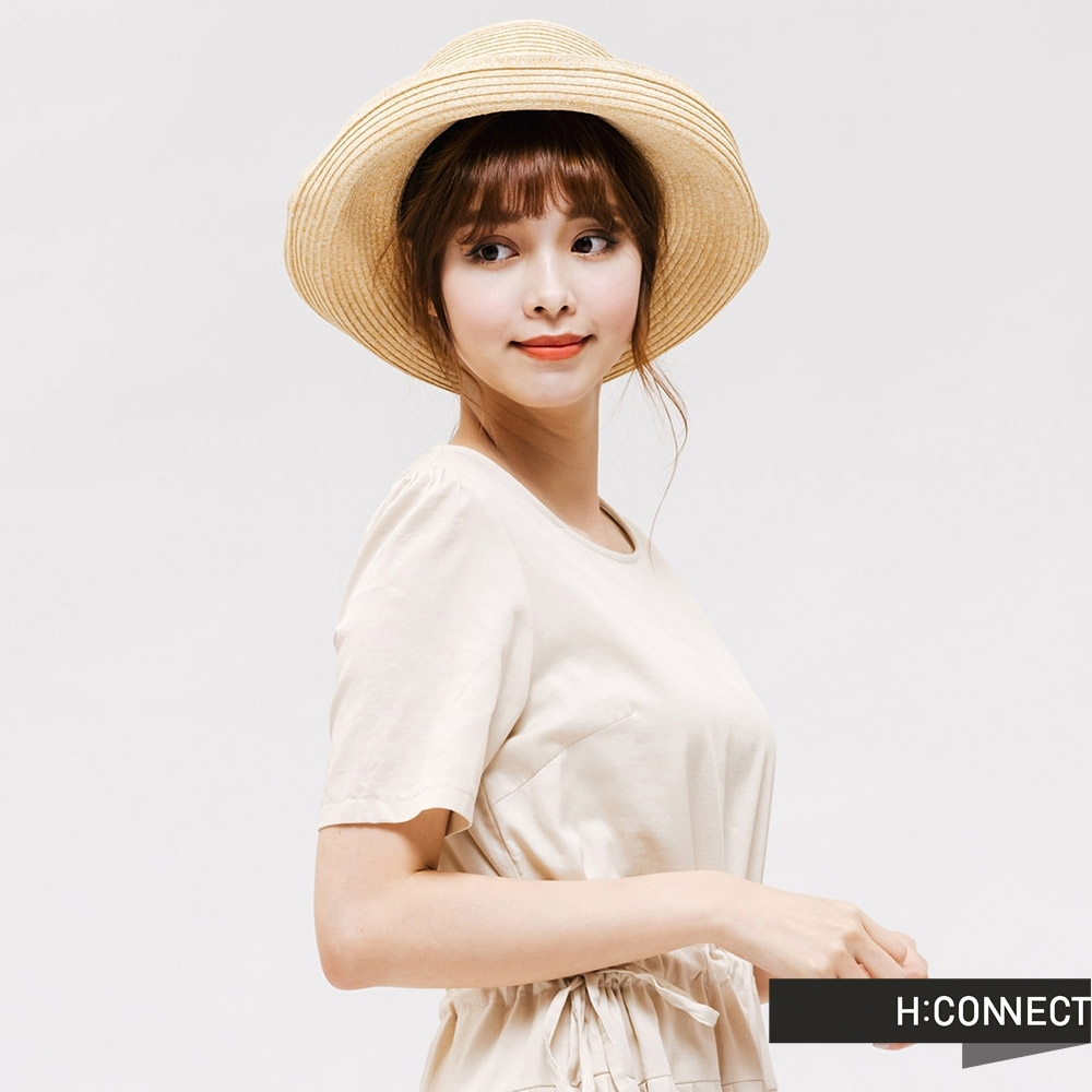 H:CONNECT 韓國品牌 配件 -蝴蝶結織帶編織草帽