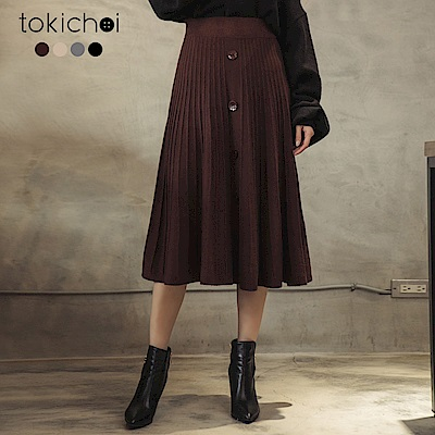 東京著衣 氣質姊姊多色排釦造型針織中長裙(共四色)