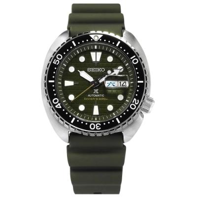 SEIKO 精工 PROSPEX 潛水錶 機械錶 陶瓷錶圈 矽膠手錶-墨綠色/45mm