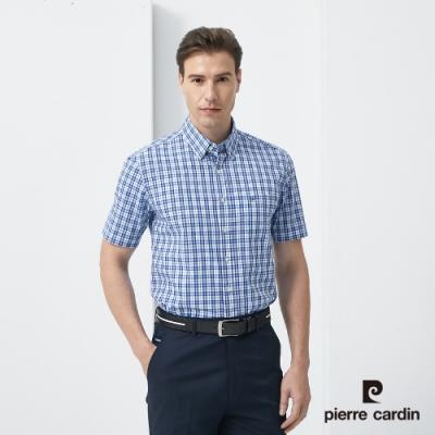 Pierre Cardin皮爾卡登 男裝 進口素材純棉格紋短袖休閒襯衫-藍色(5187164-37)