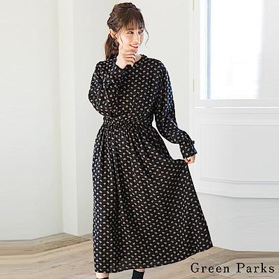 Green Parks 復古花柄圓領長版洋裝