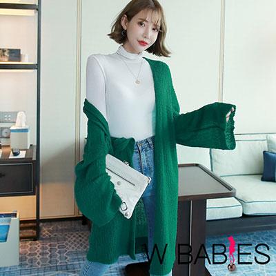 正韓 寬鬆長袖長版針織外套 (綠色)-W BABIES