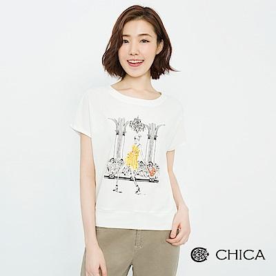 CHICA 綻放伸展台手繪圖騰純棉上衣(3色)