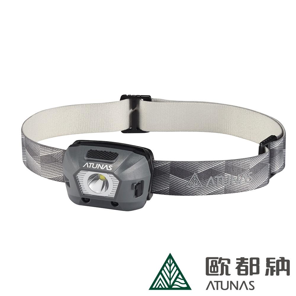 【ATUNAS 歐都納】經典輕量防水充電頭燈A2LICC06綠灰/登山/探險/夜跑/照明配件