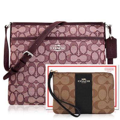 COACH 酒紅色大C織紋斜背包+咖啡黑色大C PVC手拿包