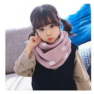 韓版 秋冬寶寶保暖針織點點兒童圍脖