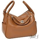 Ann'S名媛時尚-立體大空間真皮牛皮手提肩背兩用包-棕