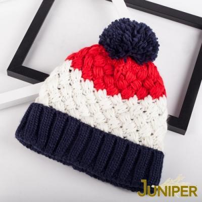 JUNIPER女款防寒拼色針織翻邊刷毛絨內裡防風保暖冬帽