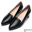 DIANA 漫步雲端厚切焦糖美人款-真皮素色金屬飾釦樂福跟鞋-黑