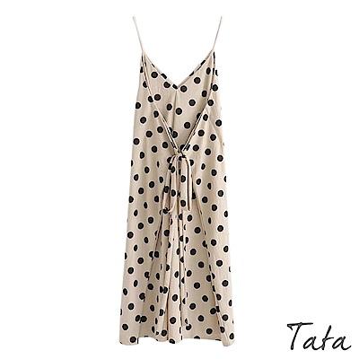 交疊綁帶波點吊帶洋裝 TATA