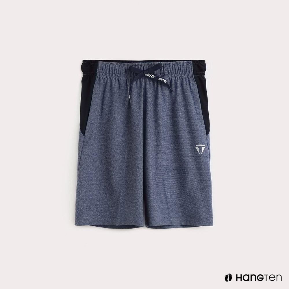 Hang Ten-童裝-ThermoContro-抽繩拼接機能休閒短褲-藍