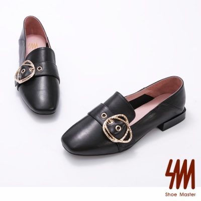 SM-方頭華麗皮帶雙扣環低跟樂福鞋