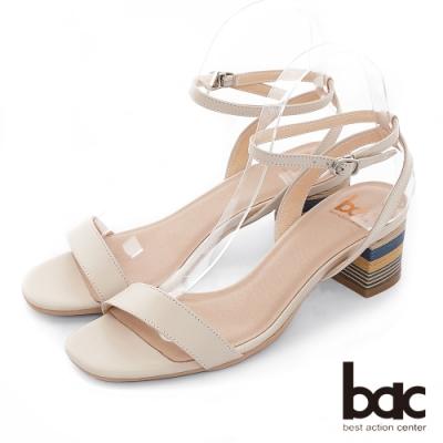 【bac】紐約不夜城 - 時髦細版一字帶特殊拼色粗跟涼鞋-米色