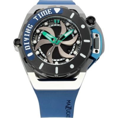 Mazzucato RIM SCUBA 雙時區潛水翻轉機械錶(SUB03)-藍綠色/48mm