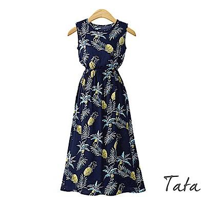 鳳梨印花無袖洋裝 共二色 TATA