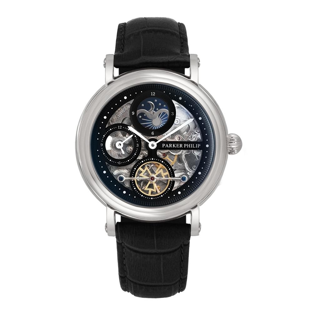PARKER PHILIP派克菲利浦 雙發條盒日月相機械腕錶(銀殻/黑面/黑帶)