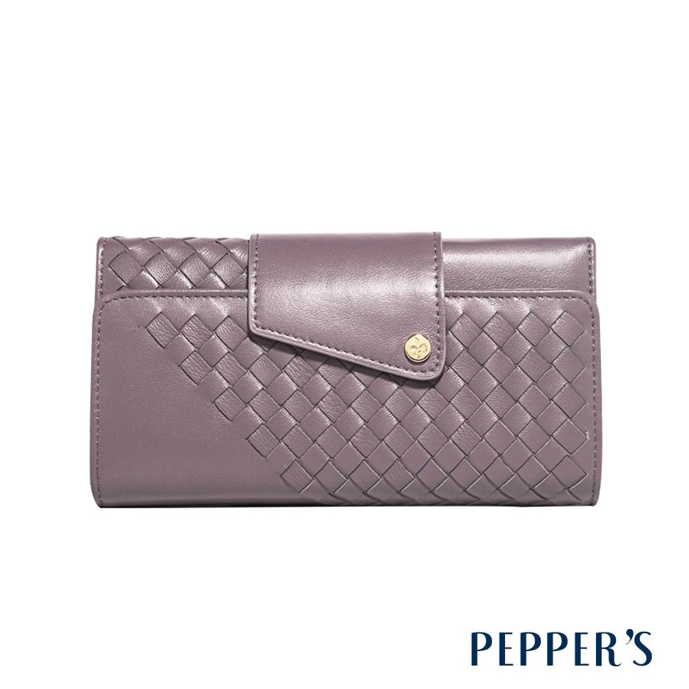 PEPPER'S Olivia 羊皮編織掀蓋長夾 - 煙燻紫