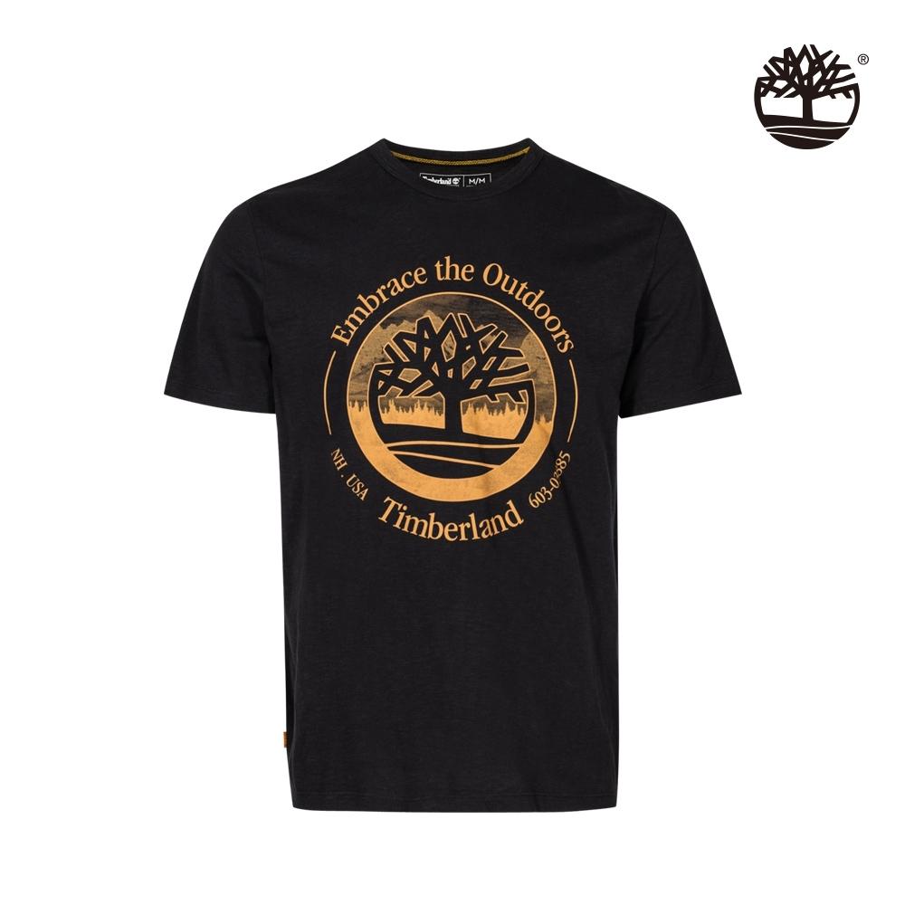 Timberland 男款黑色大LOGO印花短袖T恤|A25A1