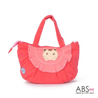 ABS貝斯貓 可愛小魚趴趴貓布包小提袋(甜心粉)88-115