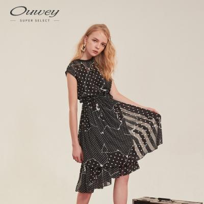 OUWEY歐薇 圓點拼接感綁帶洋裝(黑)
