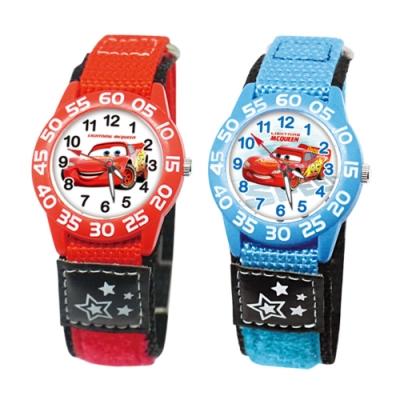 DISNEY迪士尼 自黏休閒織帶手錶Cars汽車總動員閃電麥坤33mm兩款任選