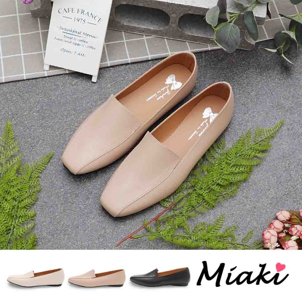 Miaki-樂福鞋.簡約時尚平底休閒方頭包鞋 (奶茶色系)