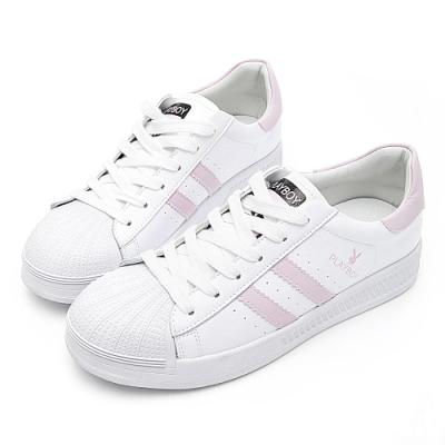 PLAYBOY 經典升級條紋仿皮休閒鞋-白粉-Y631819