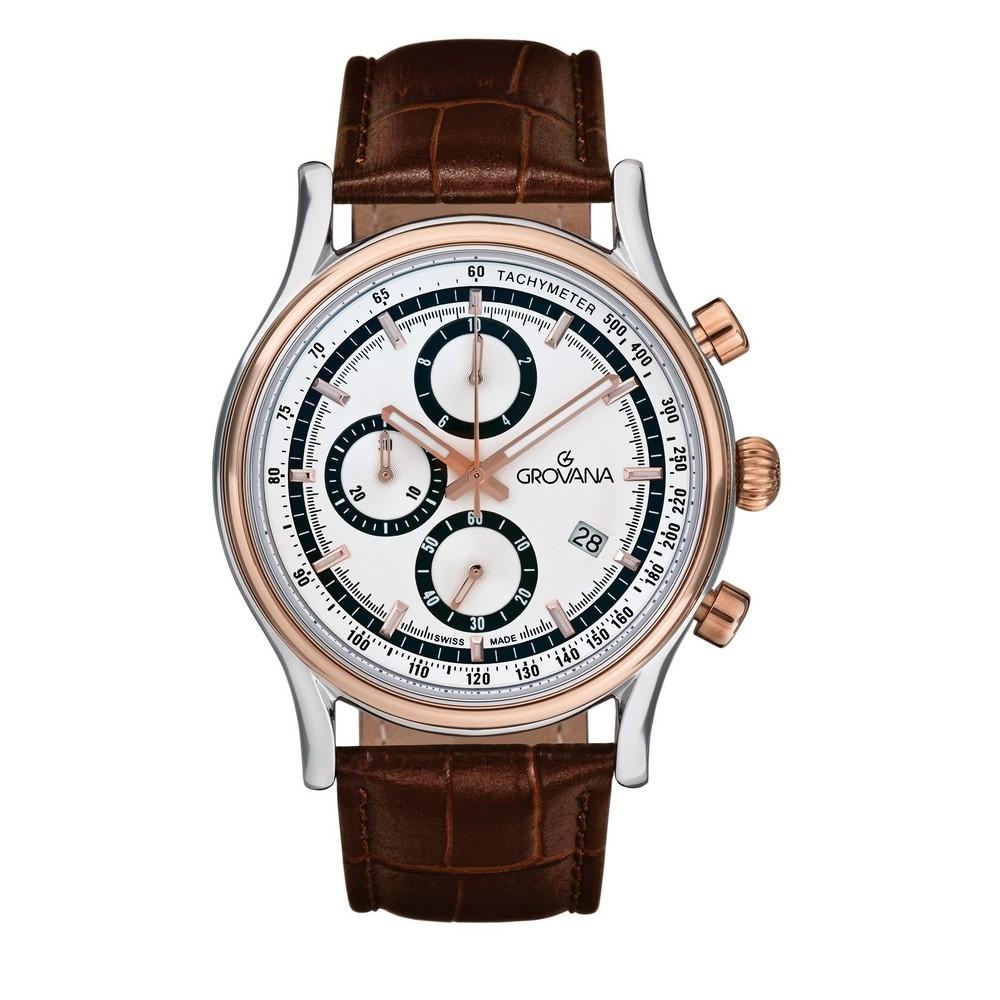 (福利品) GROVANA瑞士錶 Specialties系列三眼計時石英男錶(1730.9552)-香檳金錶圈X白面x棕色皮帶/41mm